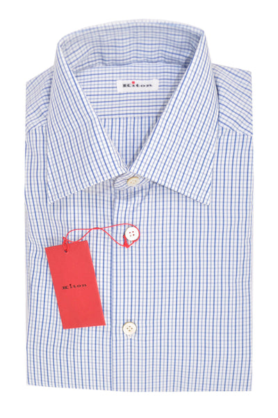 Kiton Dress Shirt White Blue Navy Check
