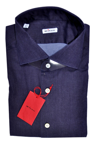 Kiton Dress Shirt Purple Gray Blend - Stretch 39 - 15 1/2