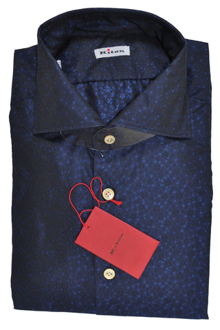 Kiton Dress Shirt Navy Mini Flowers 41 - 16