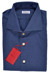 Kiton Dress Shirt Dark Blue Solid