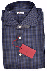 Kiton Dress Shirt Gray Navy Blue Check