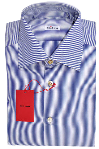 Kiton Dress Shirt White Navy Stripes 45 - 18