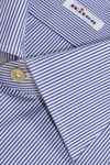 New Kiton Dress Shirt White Navy Stripes