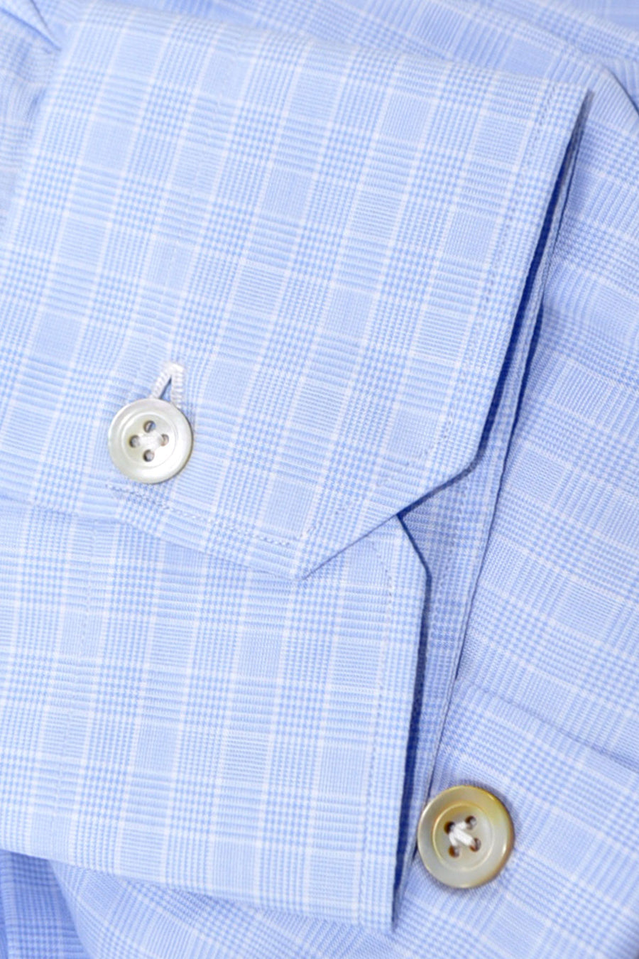 Kiton Dress Shirt Blue White Check 45 - 18 SALE