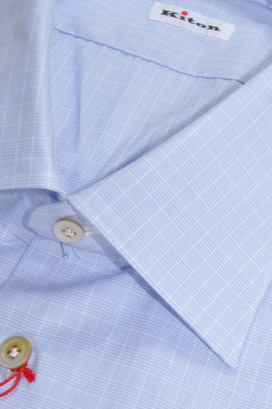 Kiton Dress Shirt Blue White Check 40 - 15 3/4