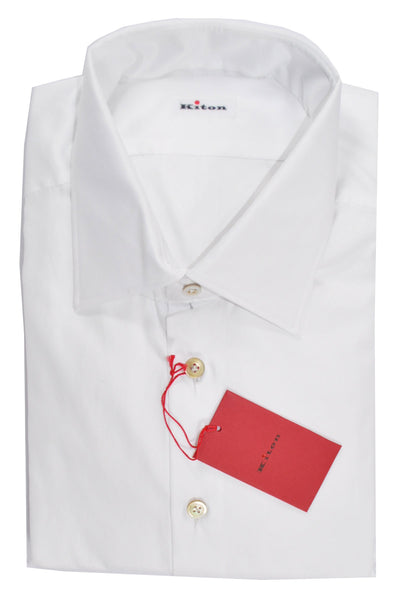 Kiton Dress Shirt Solid White 45 - 18