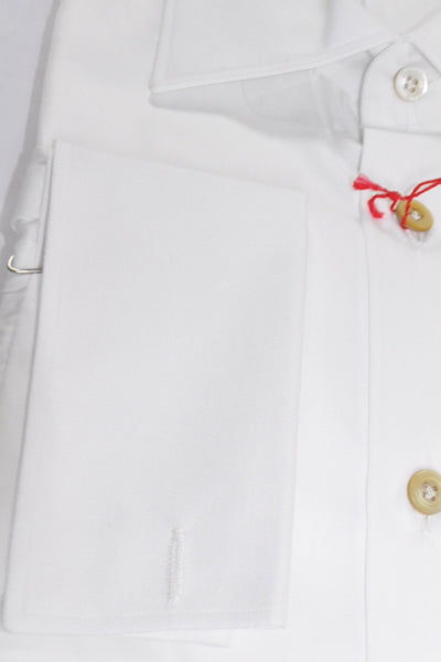 Kiton Dress Shirt Solid White French Cuffs