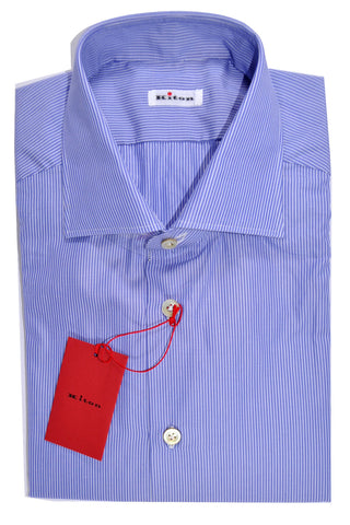 Kiton Dress Shirt Periwinkle Blue White Stripes 42 - 16 1/2