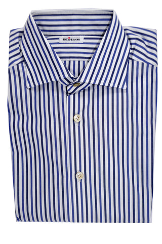 Kiton Shirt White Navy Blue Stripes 38 - 15