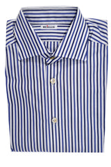Genuine New Kiton Shirt White Navy Blue Stripes