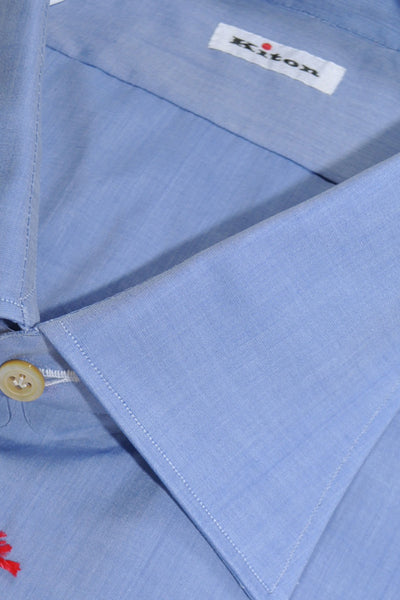 Kiton Dress Shirt Solid Blue