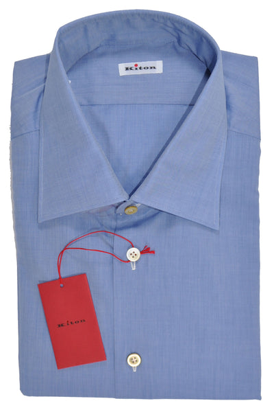 Kiton Dress Shirt Solid Blue 45 - 18
