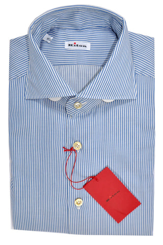 Kiton Dress Shirt White Blue Stripes Cotton Cashmere 41 - 16
