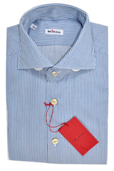 Kiton Dress Shirt White Blue Stripes