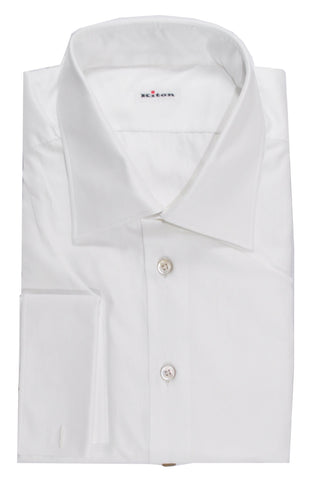 Kiton Dress Shirt Solid White French Cuffs 46 - 18