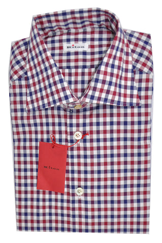 Kiton Dress Shirt Maroon Navy White Check 39 - 15 1/2