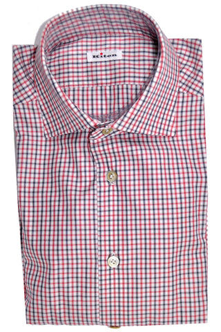 Kiton Dress Shirt White Navy Red Check Stripes 39 - 15 1/2