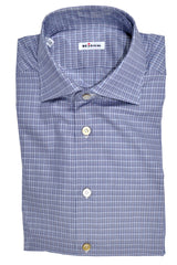 Kiton Dress Shirt Navy Gray Check