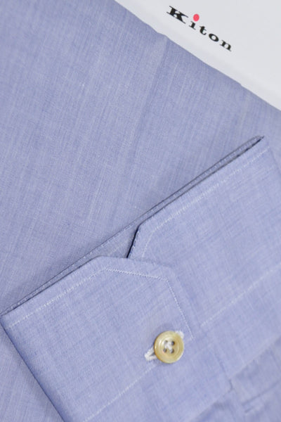 Kiton Dress Shirt Blue Lavender 46 - 18 1/2 SALE