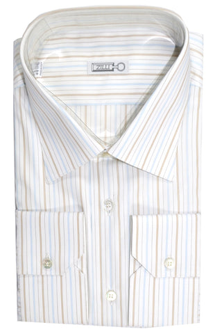Zilli Shirt White Brown Navy Black Stripes Dress Shirt 44 - 17 1/2