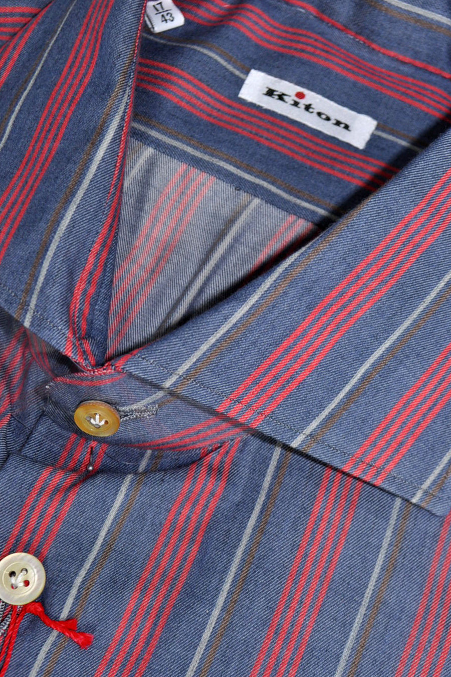 Kiton Dress Shirt Navy Red Stripes Cotton Cashmere