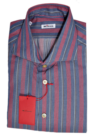 Kiton Dress Shirt Navy Red Stripes Cotton Cashmere 43 - 17