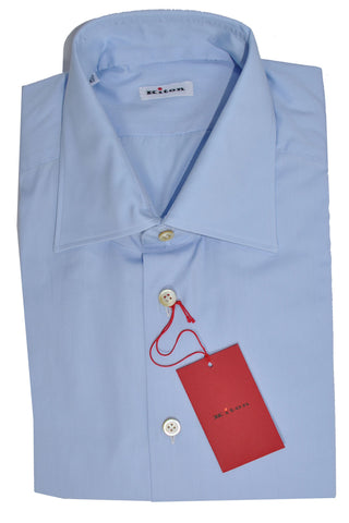 Kiton Dress Shirt Solid Blue 42 - 16 1/2