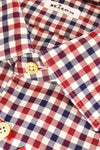 Kiton Dress Shirt Navy Burgundy White Check 45 - 18 REDUCED - SALE