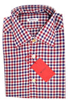 Kiton Dress Shirt Navy Burgundy White Check