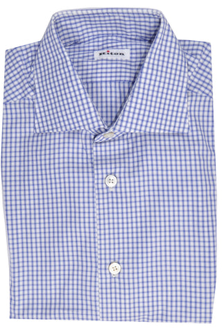 Kiton Dress Shirt White Royal Blue Check 38 - 15