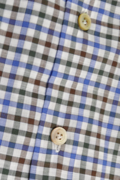 Kiton Dress Shirt White Black Brown Blue