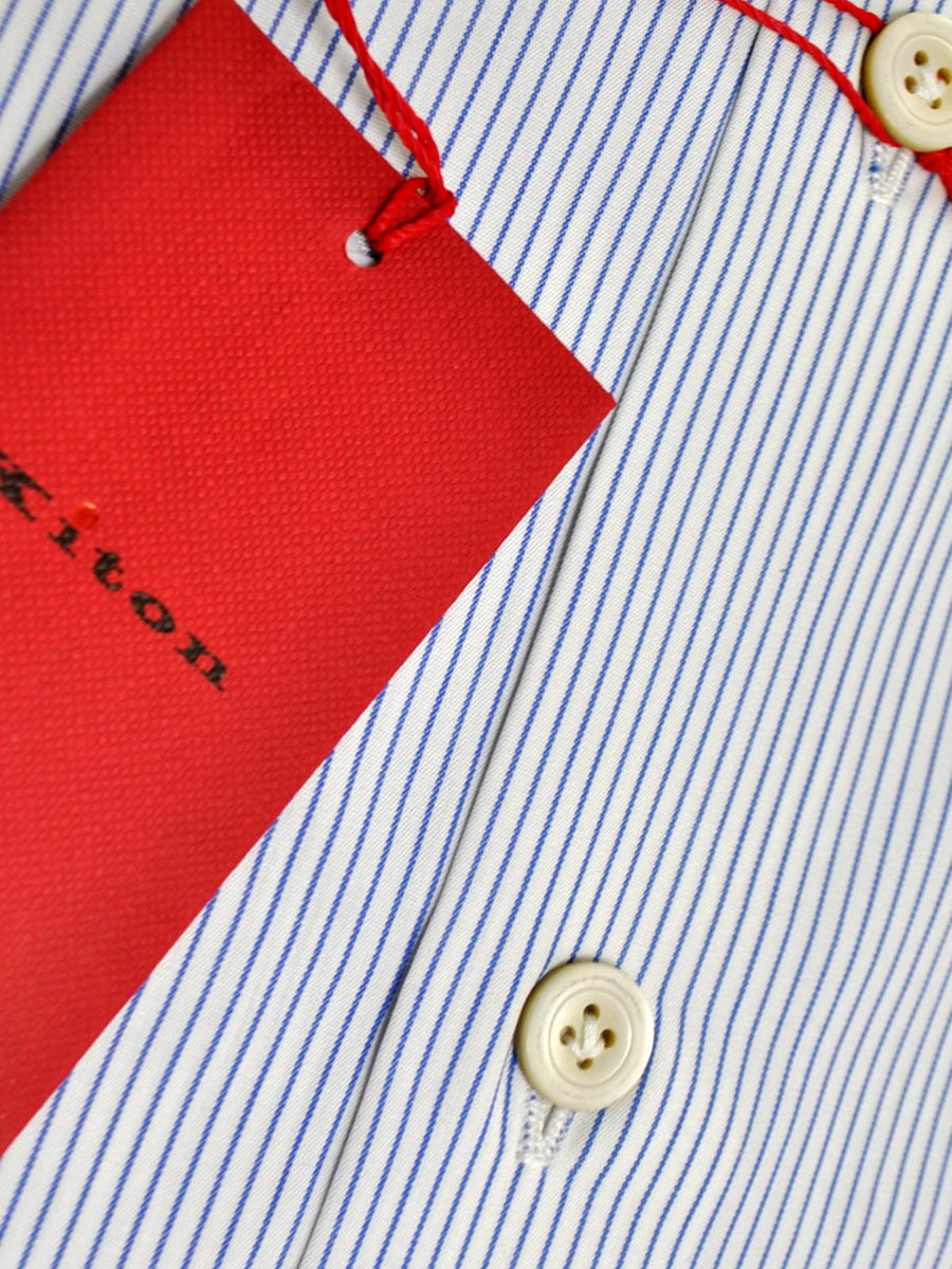 Kiton Dress Shirt White Navy Stripes