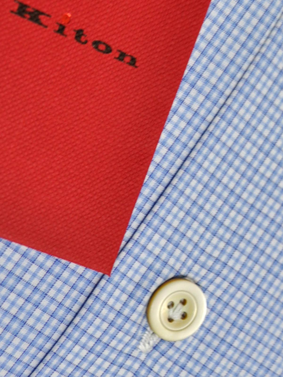 Kiton Dress Shirt White Blue Check Spread Collar