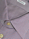 Kiton Dress Shirt Mini Houndstooth White Burgundy Navy 45 - 18