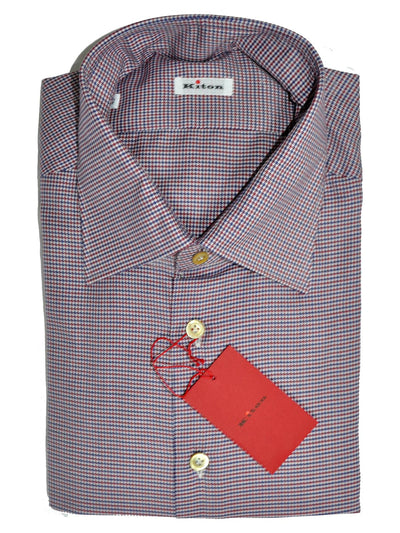 Kiton Dress Shirt Mini Houndstooth White Burgundy Navy