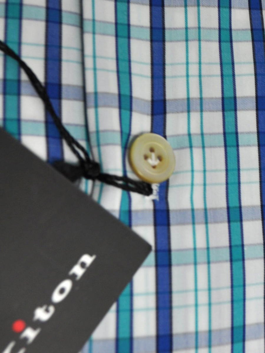 Kiton Dress Shirt White Navy Aqua Stripes