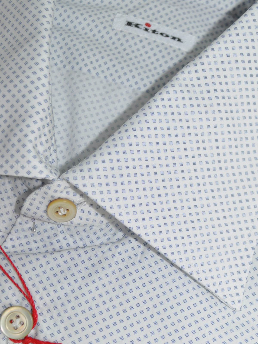 Kiton Dress Shirt White Navy Mini Diamonds 40 - 15 3/4