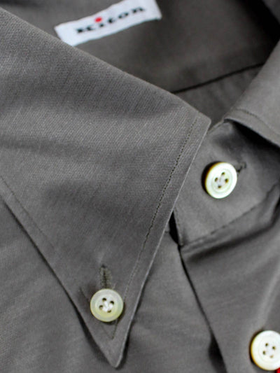 Kiton Shirt Taupe-Gray Button Down Collar Shirt REDUCED -SALE