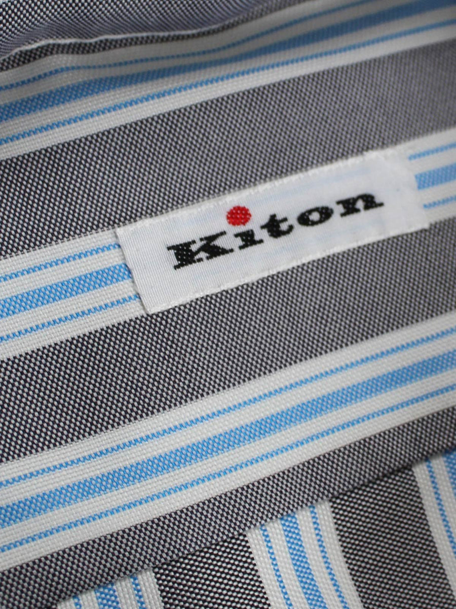 Kiton Shirt White Gray Blue Stripes Dress Shirt