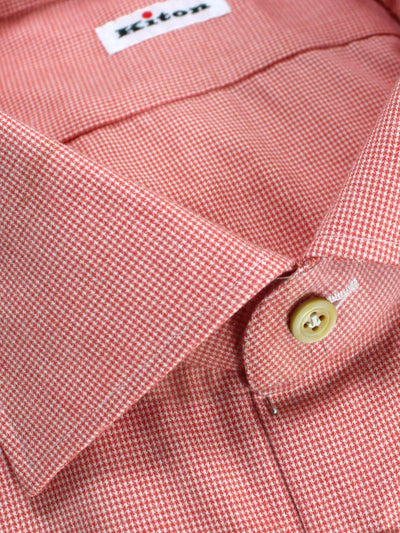 Kiton Shirt Pink Mini Houndstooth Sartorial Dress Shirt