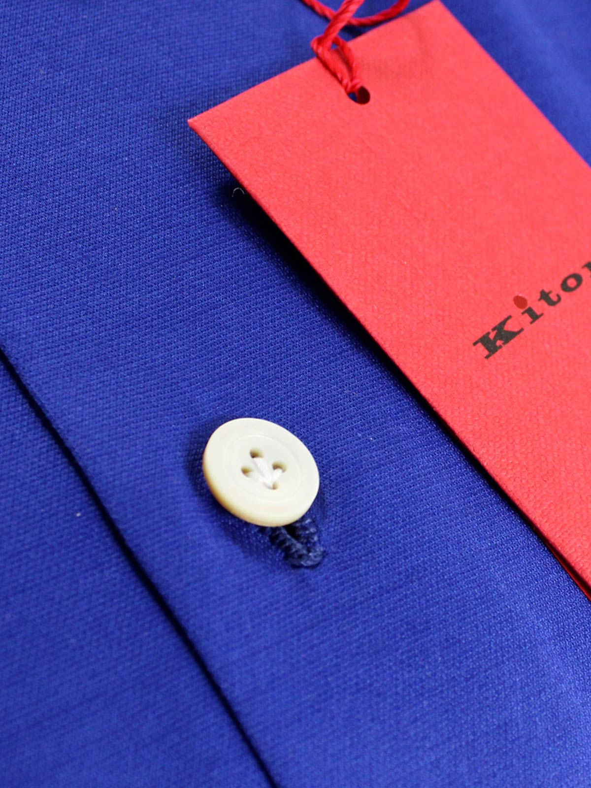 Kiton Shirt Blue Button Down Collar Shirt