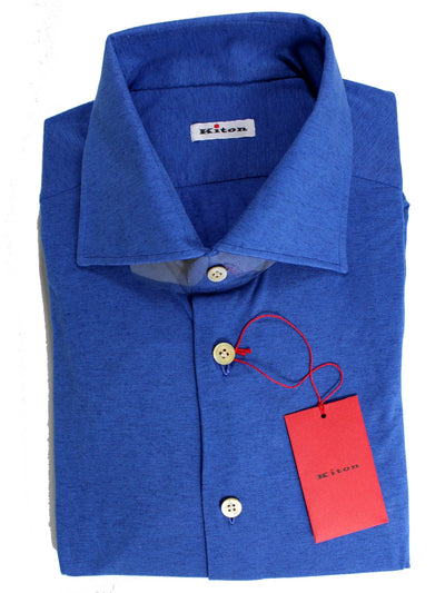 Kiton Shirt Royal Blue Sartorial Dress Shirt 40 - 15 3/4 SALE
