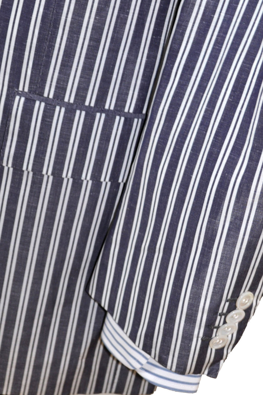 Kiton Sportcoat Navy White Stripes Cotton Linen