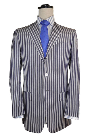 Kiton Sportcoat Navy White Stripes Cotton Linen EUR 52 L / US 42 L - FINAL SALE