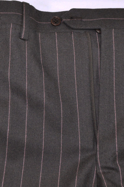 Kiton Suit Gray Pink Stripes Wool Two Button EUR 52 / US 42 SALE