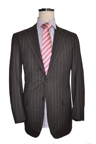Kiton Two Button Suit Gray Pink Stripes Wool EUR 52 - US 42