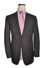 Kiton Men Suit Gray Pink Stripes Wool