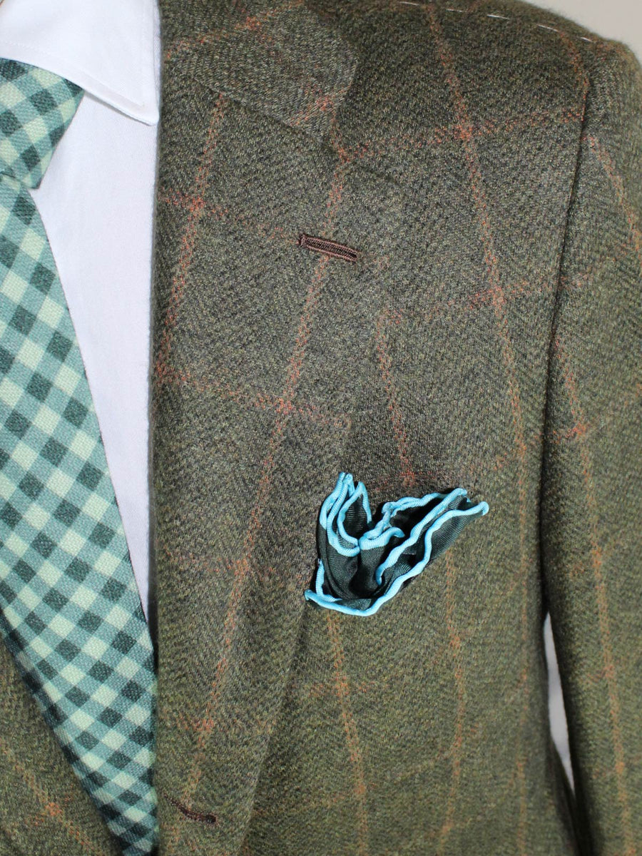 Kiton Sport Coat Winter Green Brown Windowpane