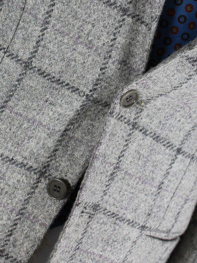 Kiton Sport Coat Gray Windowpane Wool Blazer Cipa 1960