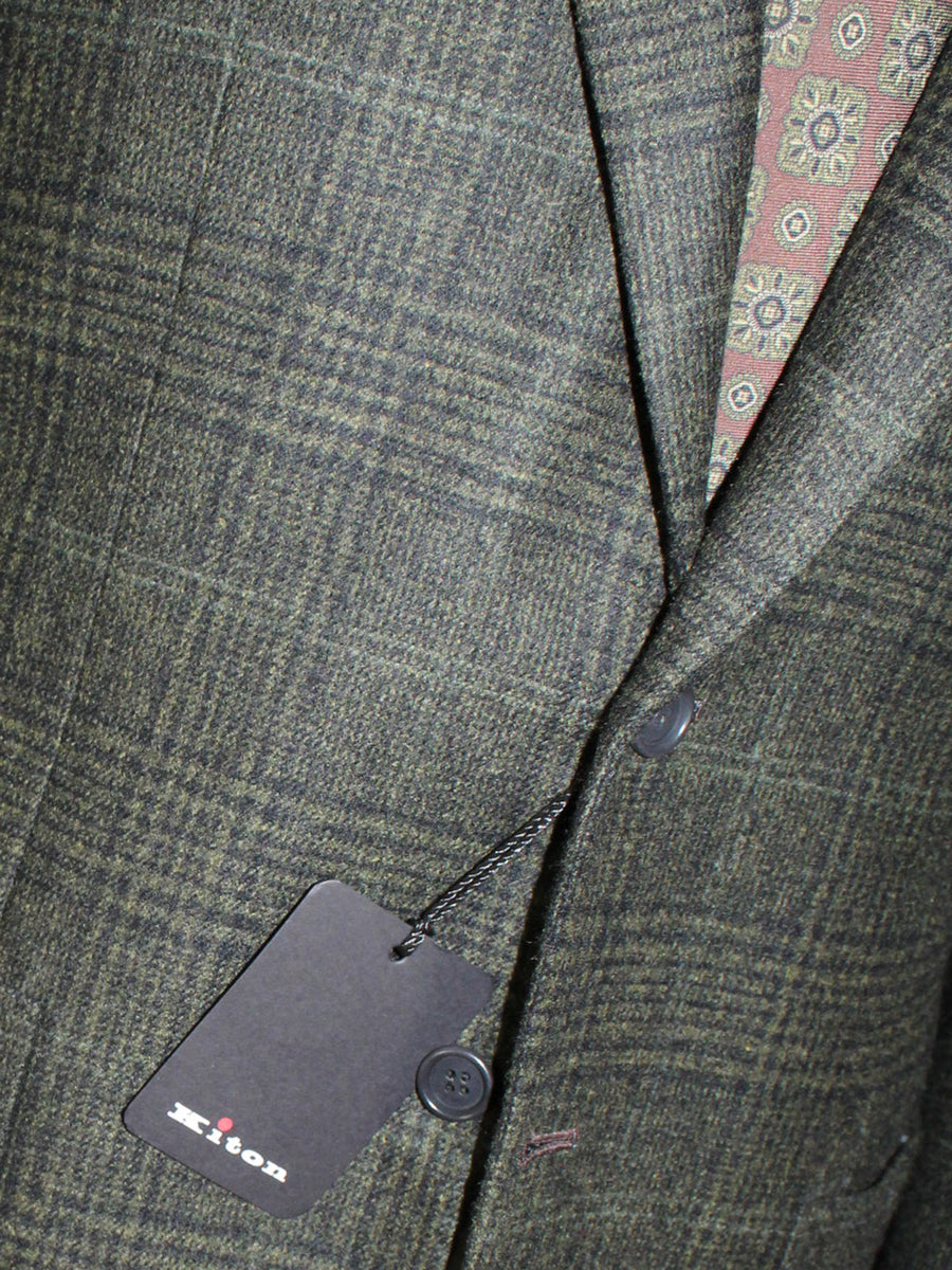 Kiton Sport Coat Black Forest Green Plaid